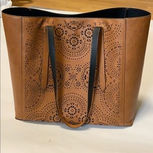 Brown Faux Leather Laser Cut Mandala Tote